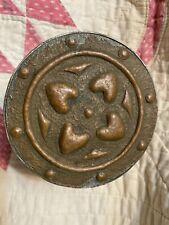 Arts and Crafts Handmade Hammered Copper Circular Lidded  Box w Hearts Folk Art