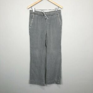Standard James Perse 100% Linen Drawstring Wide Leg Pants Gray Size 1 Small