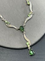 """Vintage Peridot Green Crystal  Drop pendant necklace Silver tone Chain 16"""""""
