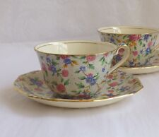 Royal Winton Old Cottage Chintz (2) Cup & Saucers sets, pre 1960 earthenware