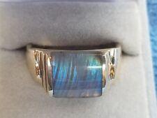 Mens 12 Gold 10k Natural Blue Labradorite Ring made in USA