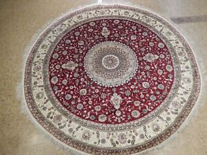 6x9 Authentic Hand-Knotted Silk Round Rug PIX-25798A