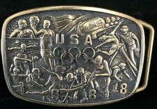 Vintage 1987 Commemorative 1988 USA Olympics Belt Buckle B-k Silversmiths