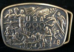 Vintage 1987 Commemorative 1988 USA Olympics Belt Buckle B-k Silversmiths