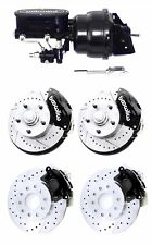 Wilwood Black Front & Rear Drilled Slotted Disc Brake Kit w/ Booster Master Cyl.