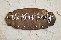 Personalized Family Name Key Holder - Dark Walnut Backing, Customize Text and Ho