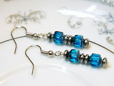 Deep Aquamarine Color Gilded Cathedral Glass Bead Earrings Silver Tone