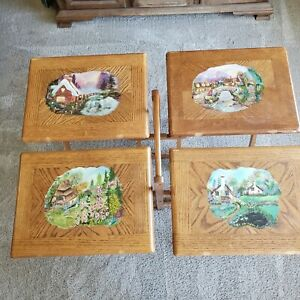 TV Tray Table Set 4 Solid Oak Wood Hand Painted; Card Game Laptop Snack Dinner