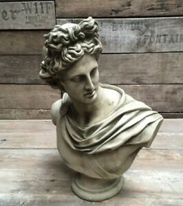 STONE GARDEN APOLLO MALE BUST -  MAN STATUE HEAD ORNAMENT