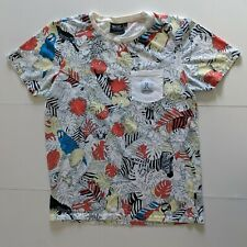 WeSC Short-Sleeve T-shirt White-Orange Tropical Print Pocket T - Large