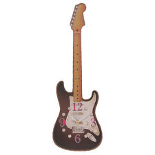 BLACK GUITAR SHAPED PICTURE WALL CLOCK BATTERY OPERATED