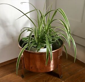 Vintage Footed Solid Copper Planter