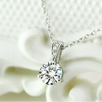 Fashion White Crystal Pendant 925 Sterling Silver Chain Necklace Women's Jewelry