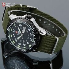 Shark Army Men's Date Quartz Green Nylon Analog Military Sport Wrist New Watch