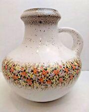 scheurich - KERAMIK Vase Jug White Painted Flowers 423-18 Flat Lava W. Germany