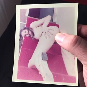 Vtg 70's Pinup Girl Snapshot Risque Nylons Nude Spread Eagle Color Photo lot A