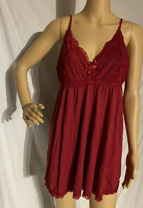 Cotton Blend Chemise Nightgown Dark Red XL Soft, Comfy