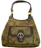 $378 NWT Coach F26245 Campbell Metallic Signature/Genuine Leather Hobo Bag Auth