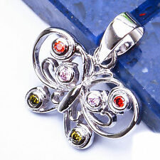 FREE SHIP! Multi Gemstone Butterfly .925 Sterling Silver Pendant .5""