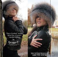 LUXE SAGA SILVER/GOLD Ranched FOX fur hat Renard Roux Argente Chapeau Fourrure