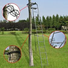 15' Deluxe Steel Hunting Ladder Stand Tree Stand Safety Harness Archery 300 lbs
