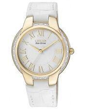 CITIZEN EM0092-01A Ladies Eco-Drive Solar Diamond Watch White Leather RRP $699