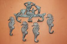(5) Mermaid Collector Home Decor Gift Set, Bronze-look Cast Iron Mermaid Hooks