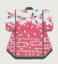 Oriental Pink Blossoms Petite Japanese Kimono handpainted Needlepoint Canvas LEE
