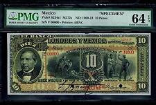 """Mexico RARE $10 Pesos""""SPECIMEN""""El Banco DE Londres YMexico 1900-1913 PMG 64"""