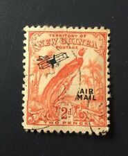 New Guinea 1931 Raggiana Bird Biplane Air Mail Overprint 2D Used.