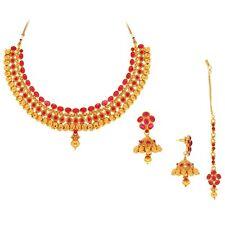 Spargz Ethnic Design Necklace Set Studded with Kemp Stone KNS 3070