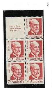Australia 7c Prime Minister Cook Booklet Pane Mint Never Hinged