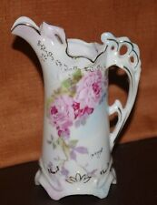 SIGNED ROYAL CROWN  CHANTILLY ROSE 1943 FINE CHINA HAND PAINTED PITCHER CREAMER
