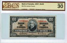 1937  $100 Bank of Canada Banknote - Graded VF-30