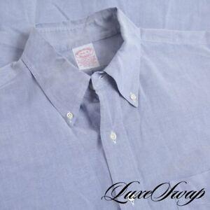 Brooks Brothers Made in USA Blue Supima Cotton OCBD Oxford Cloth Shirt 16.5 #1