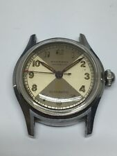 Wakmann Automatic Stainless Vintage Mens Watch Radium Two Tone Dial Swiss 1950's