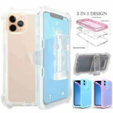 For iPhone 11 Pro Max Transparent Shockproof Armor Case Cover W/ Stand Belt Clip