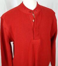 Vtg LL Bean Cotton Sweater Mens Crew Neck Sz XL 1/4 Button Red Maine NWT USA