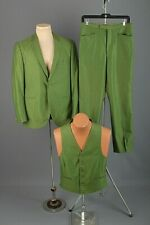 Men's 1960s Green 3pc Suit Jacket 40 Med Pants 30x28 60s Vtg