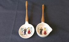 Vintage Decorative Hand Painted Ceramic Strainer Set with Wood Handles