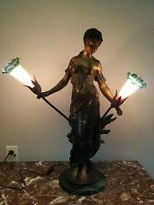 """Auguste Moreau bronze sculpture """"maiden lamp"""" 28"""" tall"""