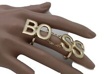 1/2 Boss Gift Statement Hip Hop Look Women Fashion Ring Large Gold Metal Size 7