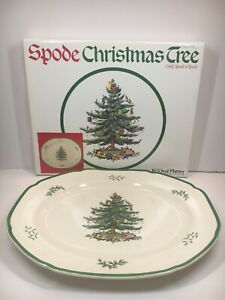 "Spode Christmas Tree Holiday 16"" Oval Serving Platter Green Rim"