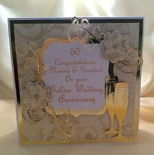 Personalised Handmade Luxury Golden 50th Wedding Anniversary Card