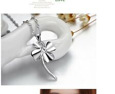 Women's 925 Sterling Silver Zircon Crystal Clover Pendant Necklace Xmas Gift UK