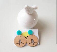 Wooden boho style bird cutout dangle stud earrings aqua pad lasercut design