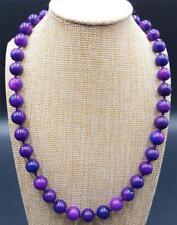 Pretty Natural 10mm Purple Sugilite Gemstone Round Beads Necklace 22''