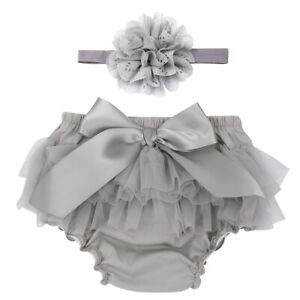 Infant Baby Girls Bowknot Bloomer Diaper Cover+ Flower Headband Photography Prop