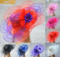 Womens Dress Church Wedding Derby Wide Brim Sun Floral Race Hat A343