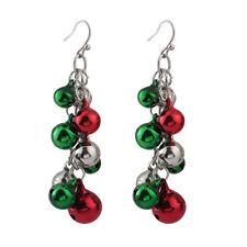 Pair Womens Colorful Jingle Bells Chandelier Dangle Earrings Christmas Xmas Gift